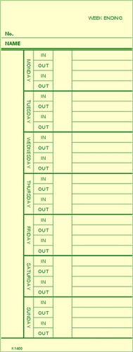 Compumatic K 1400 Weekly Time Cards 1000pk